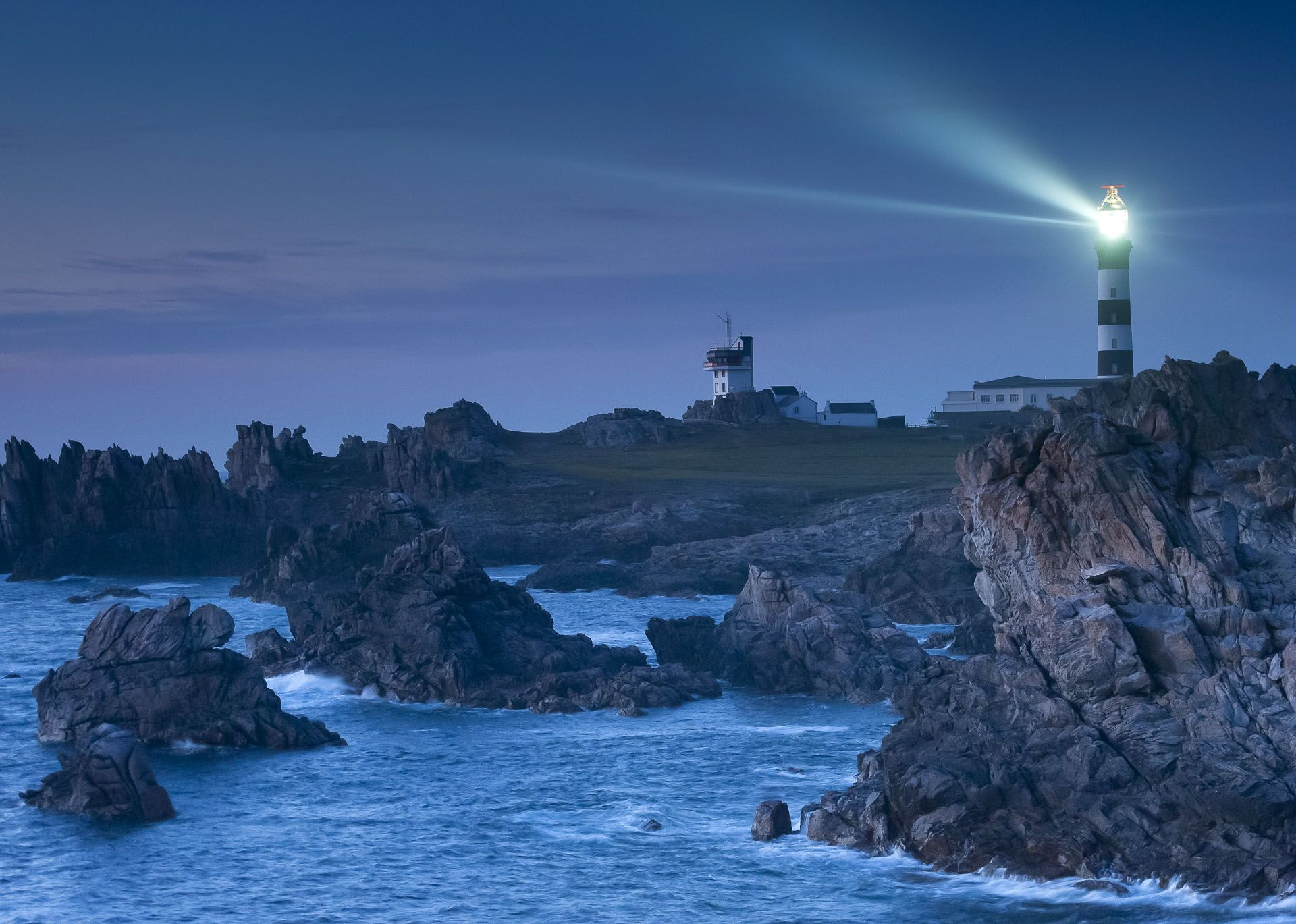 Lighthouse in Brittany by night